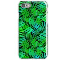 Tropical print in multiple green colors with fern and palm leaves iPhone Case/Skin