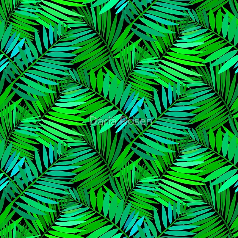 Quot Tropical Print In Multiple Green Colors With Fern And