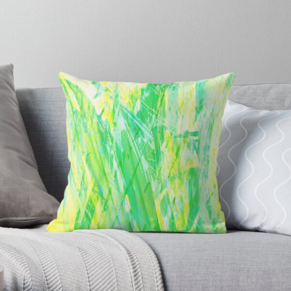 Grassy Abstract in Yellow Green Aqua White Throw Pillow