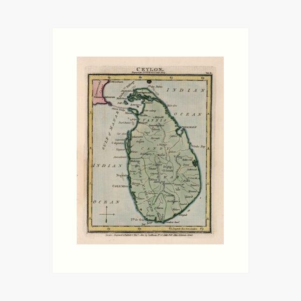 Vintage Map of Sri Lanka (1801) Art Print