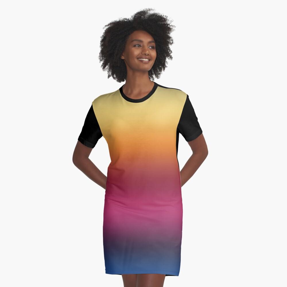 Linear Gradient Graphic T-Shirt Dress