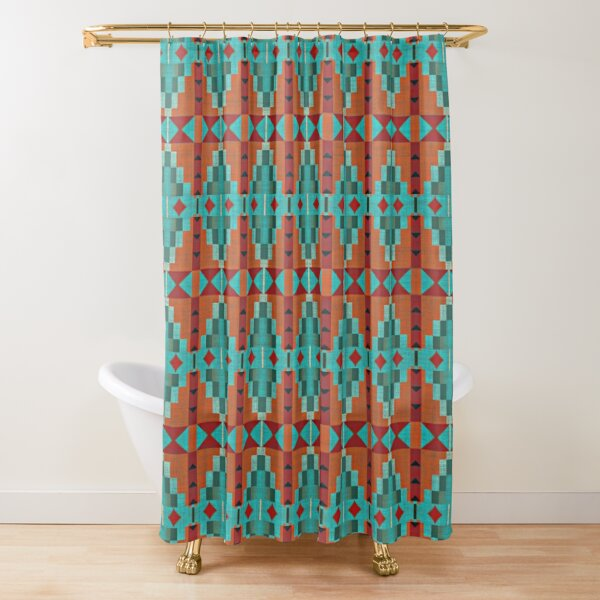 Bright Orange Red Aqua Turquoise Teal Tribal Pattern Shower Curtain