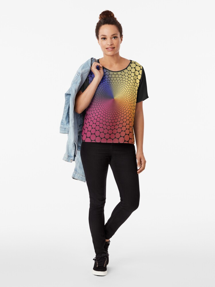 Alternate view of Optical Illusion Angle Gradient on Black Chiffon Top