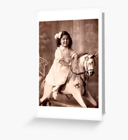Girl on a rocking horse  Greeting Card