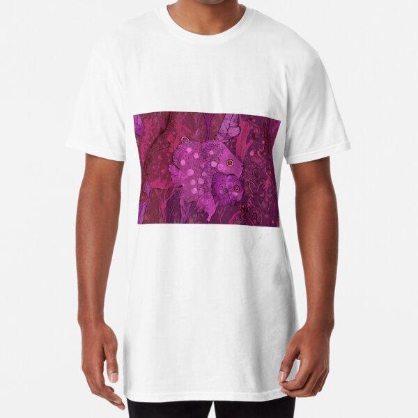 Fish Family in Seaweed, Underwater World, Burgundy Magenta Purple  Long T-Shirt