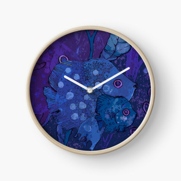 Fish Family in Seaweed, Underwater World, Indigo Blue Violet Clock