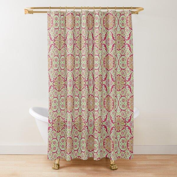 Poppy Pods Floral Mandala Arabesque Mint Red Marigold Shower Curtain