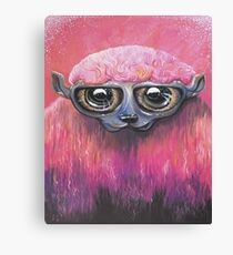 Pink Sheep Acrylic Color Painting Canvas Print