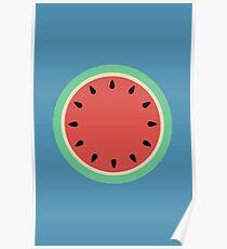 Watermelon Polka Dot on Light Blue Poster