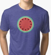 Watermelon Polka Dot on Light Blue Tri-blend T-Shirt