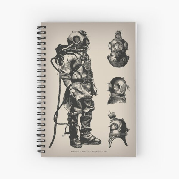 Vintage Deep Sea Diver | Nautical |  Spiral Notebook