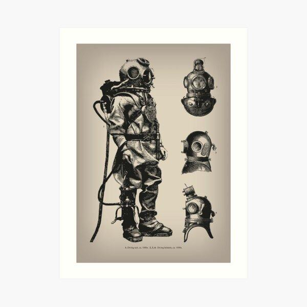 Vintage Deep Sea Diver | Nautical |  Art Print