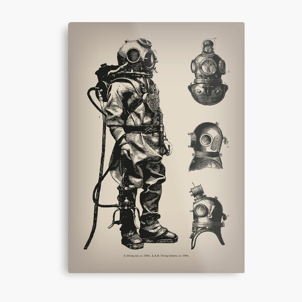 Vintage Deep Sea Diver | Nautical |  Metal Print