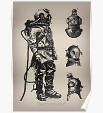Vintage Deep Sea Diver | Nautical |  Poster
