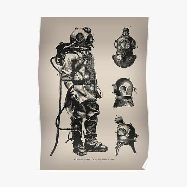 Vintage Deep Sea Diver | Nautical |  Poster