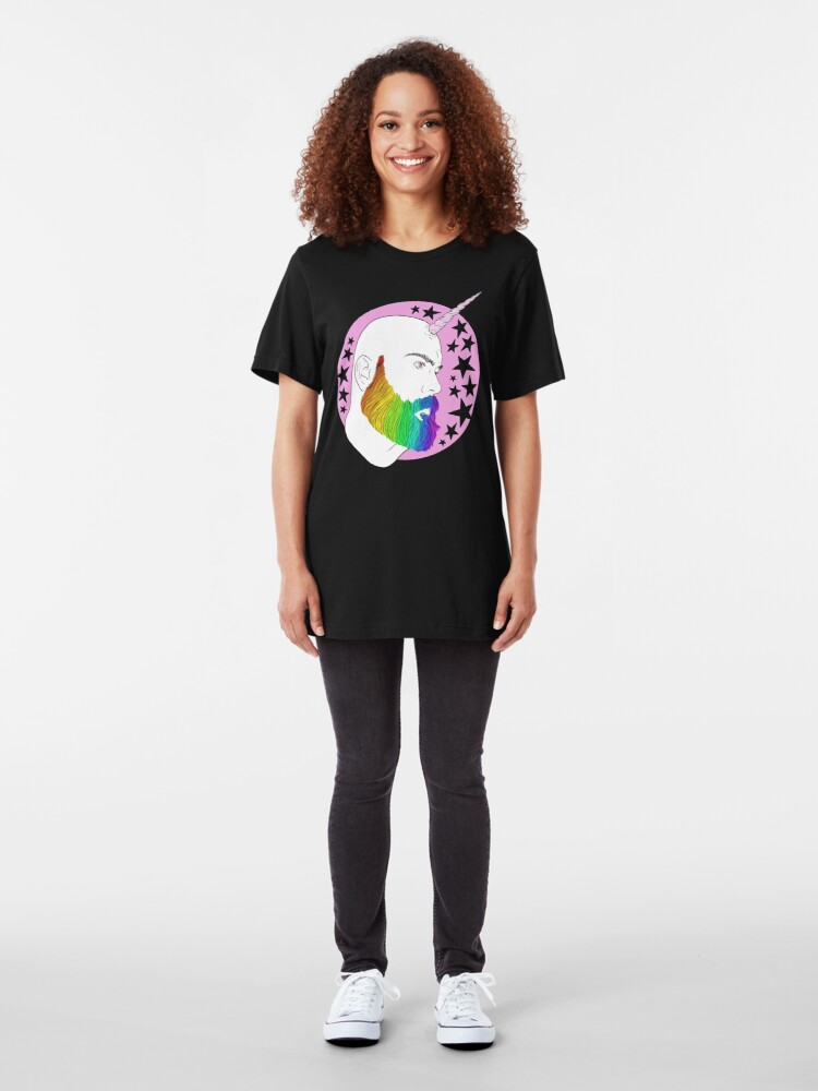 Alternate view of Bearnicorn Rainbow pink magic Slim Fit T-Shirt