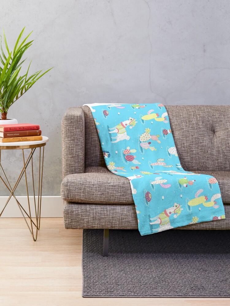 Alternate view of Alpaca Pattern Throw Blanket