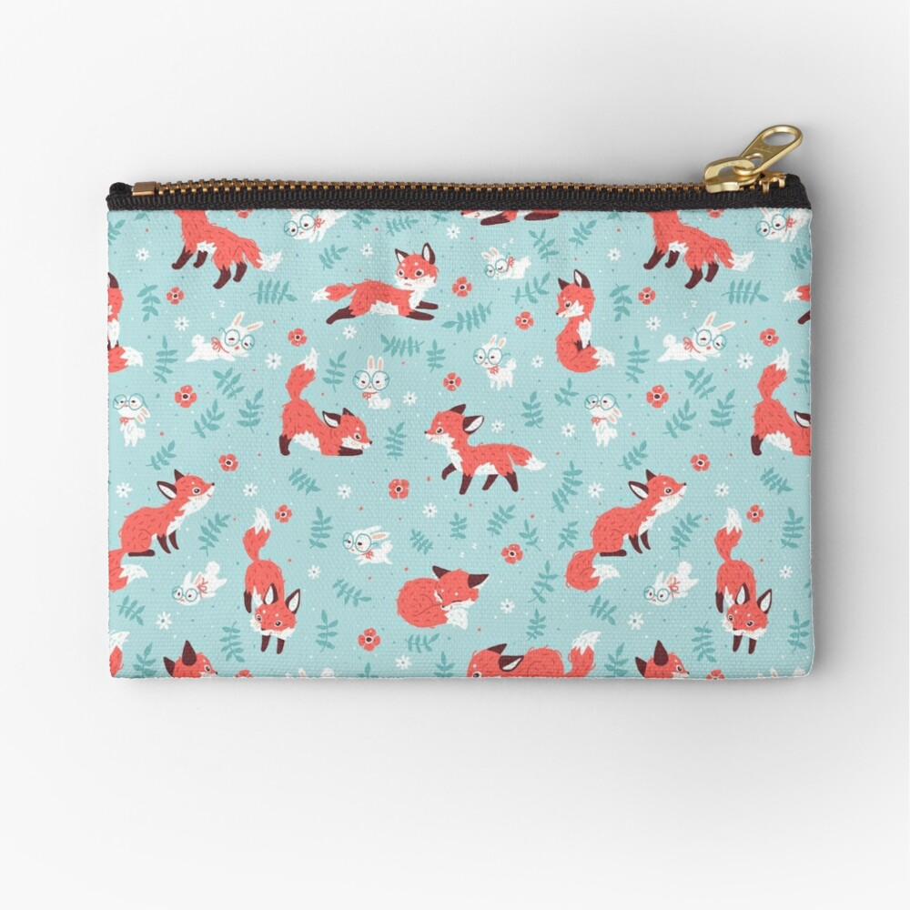 Fox and Bunny Pattern Zipper Pouch