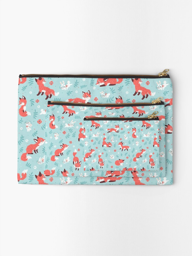 Alternate view of Fox and Bunny Pattern Zipper Pouch
