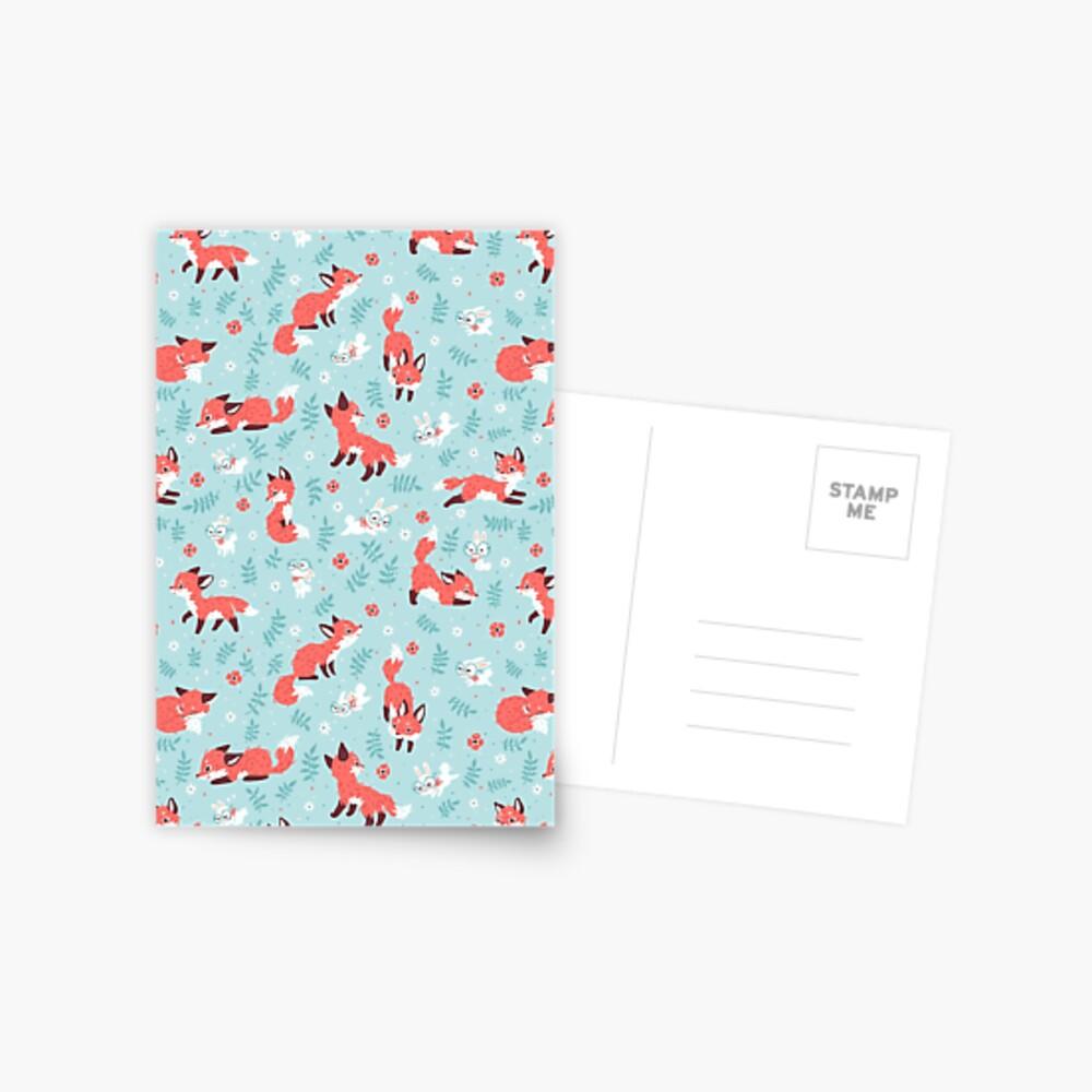 Fox and Bunny Pattern Postcard