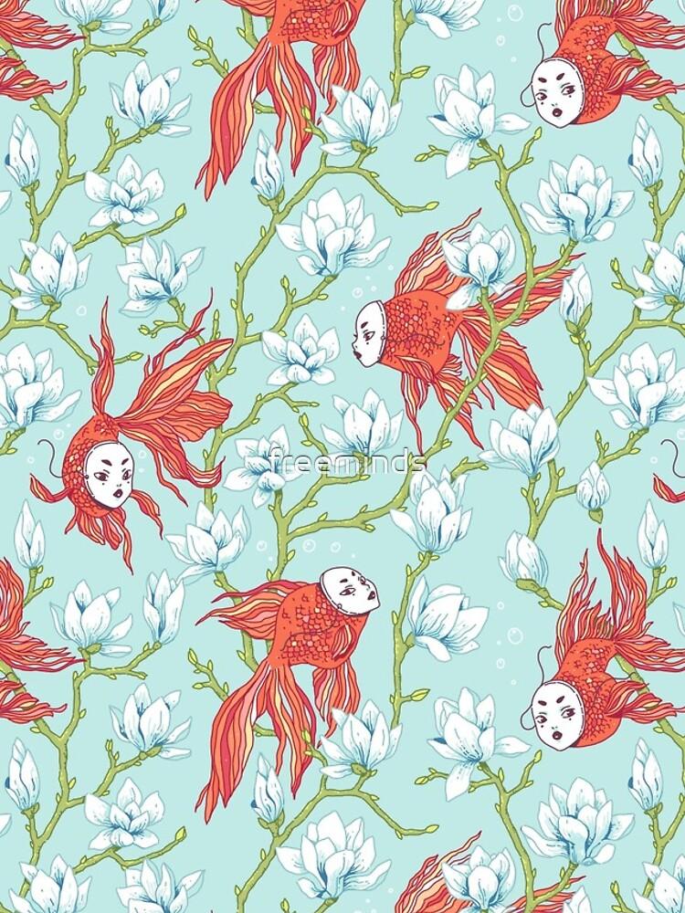 Goldfish, Mask and Magnolia Pattern by freeminds