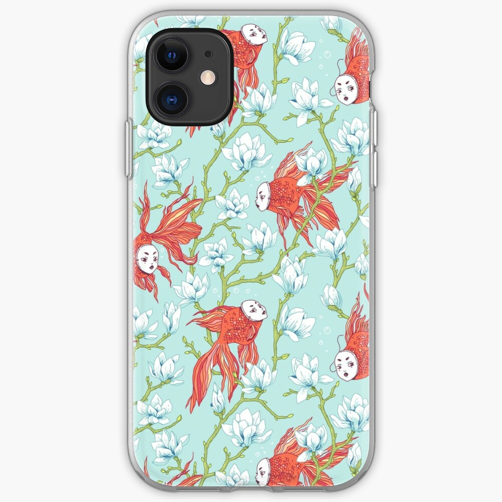 Goldfish, Mask and Magnolia Pattern iPhone Case & Cover