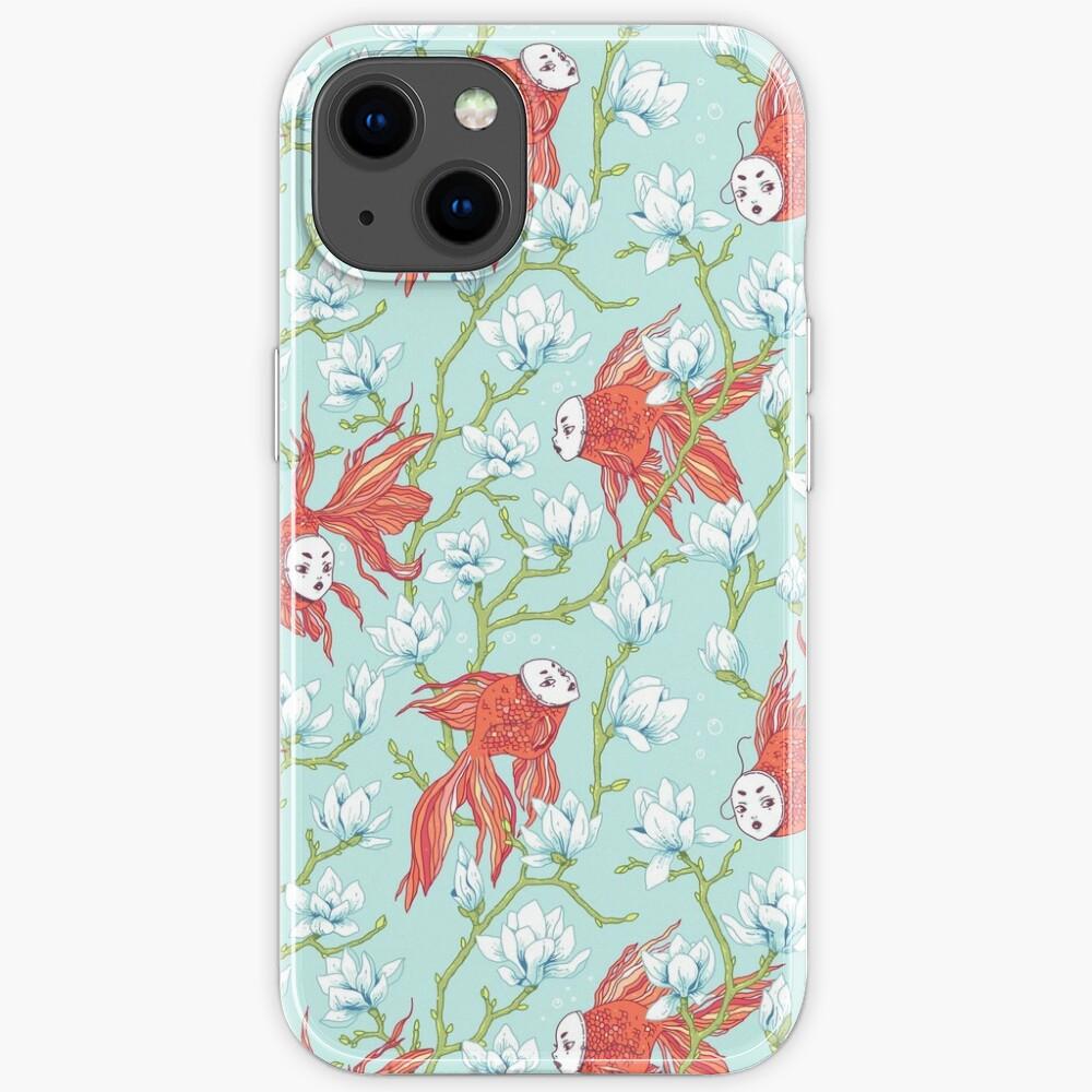 Goldfish, Mask and Magnolia Pattern iPhone Case