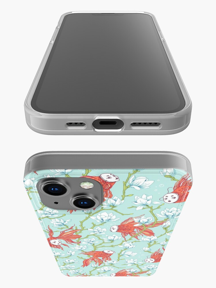 Alternate view of Goldfish, Mask and Magnolia Pattern iPhone Case