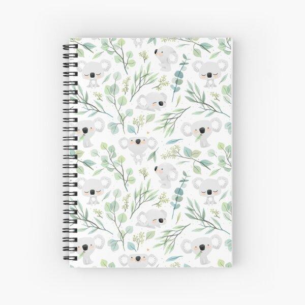 Koala and Eucalyptus Pattern Spiral Notebook