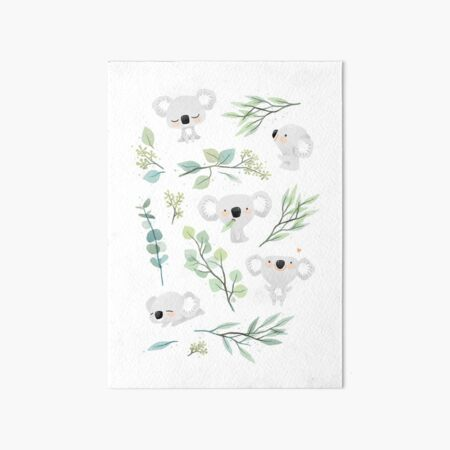Koala and Eucalyptus Pattern Art Board Print