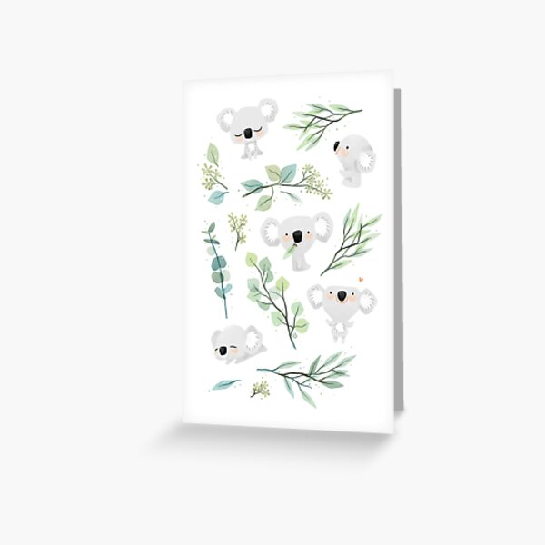 Koala and Eucalyptus Pattern Greeting Card