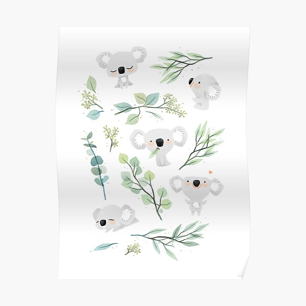 Koala and Eucalyptus Pattern Poster