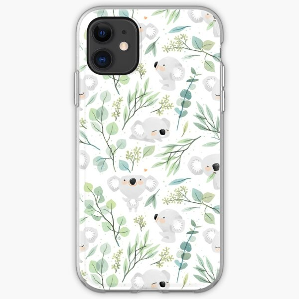 Koala and Eucalyptus Pattern iPhone Soft Case