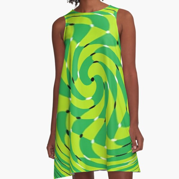 #MOVING #EYE #ILLUSION #Pattern, design, circular, abstract, illustration, art, grid, proportion, symmetrical A-Line Dress