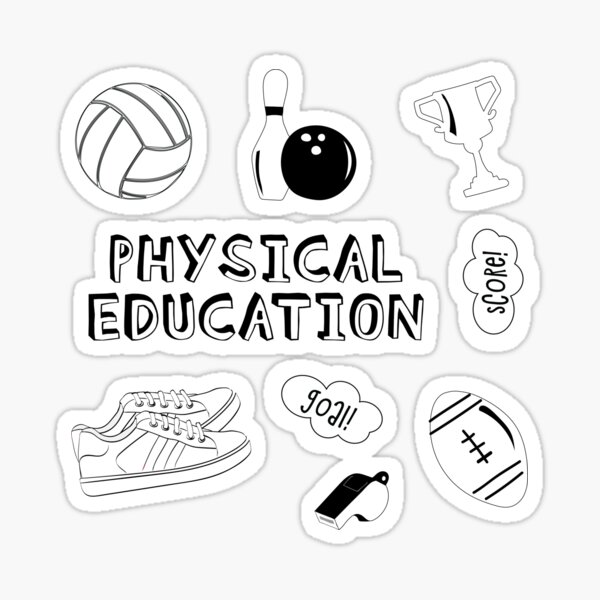 White Physical Education School Subject Sticker Pack Sticker