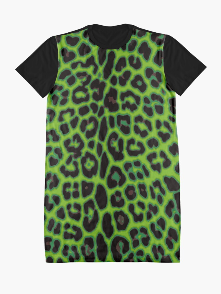 Alternate view of Green Leopard Graphic T-Shirt Dress