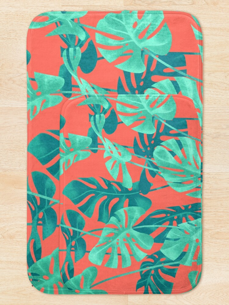 Alternate view of Monstera leaves on living coral. Bath Mat