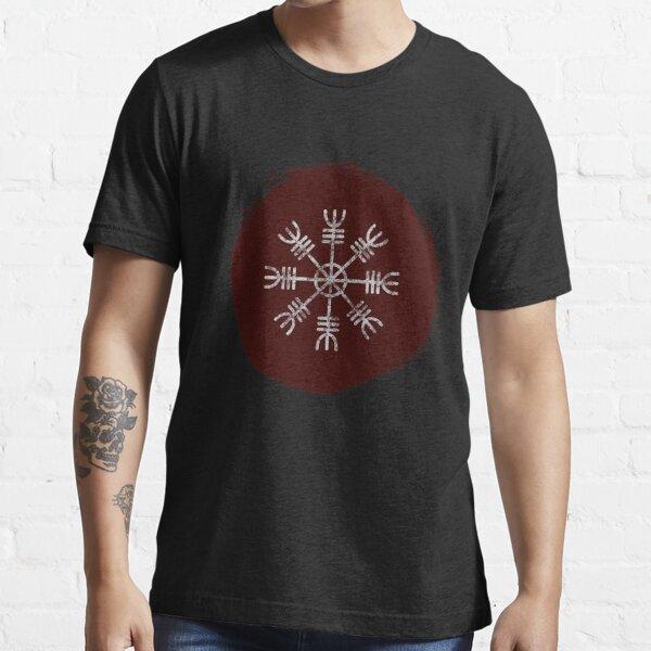 Aegishjalmur Red and Black   Helm of Awe - Viking Art, Icelandic Staves Essential T-Shirt