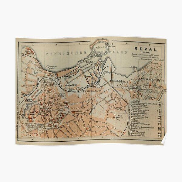 Vintage Tallinn Estonia Map (1914) Poster