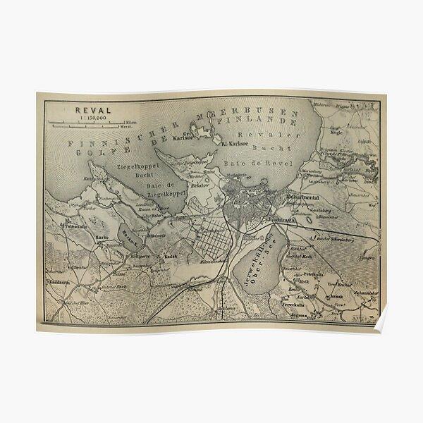 Vintage Tallinn Estonia Map (1914) V.2 Poster