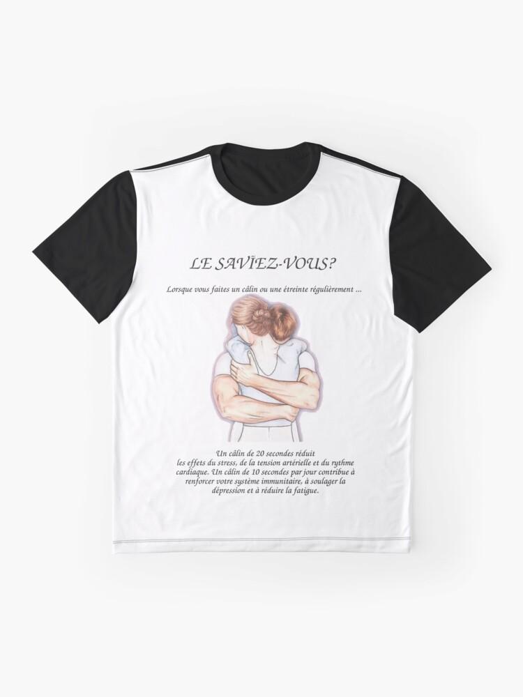 T-shirt graphique ''Les Bénéfices du Hug sur la santé': autre vue
