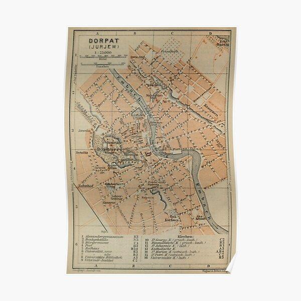 Vintage Tartu Estonia Map (1914) Poster