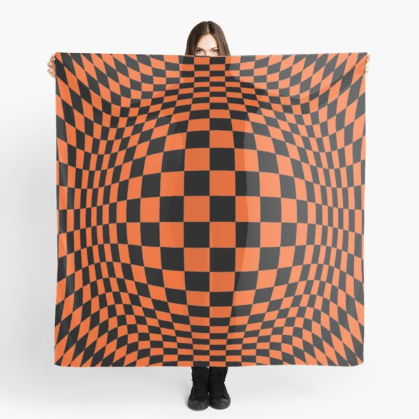 Chess, #Optical #Checker #Illusion #Pattern, design, chess, abstract, grid, square, checkerboard, illusion Scarf