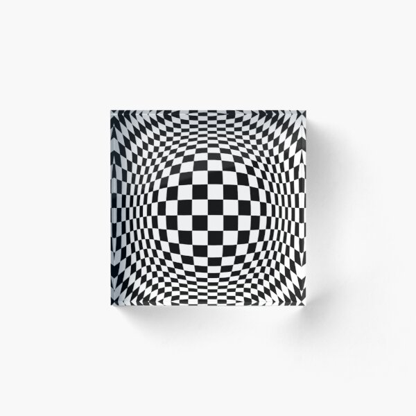 Chess, #Optical #Checker #Illusion #Pattern, design, chess, abstract, grid, square, checkerboard, illusion Acrylic Block
