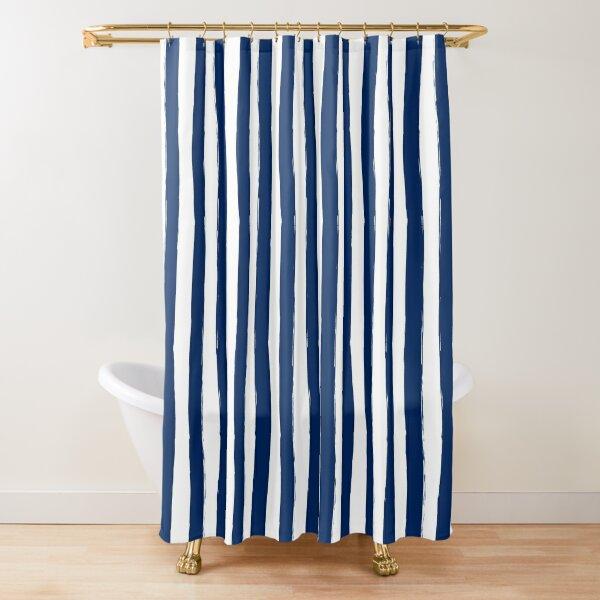 Preppy Nautical Blue and White Cabana Stripes Shower Curtain