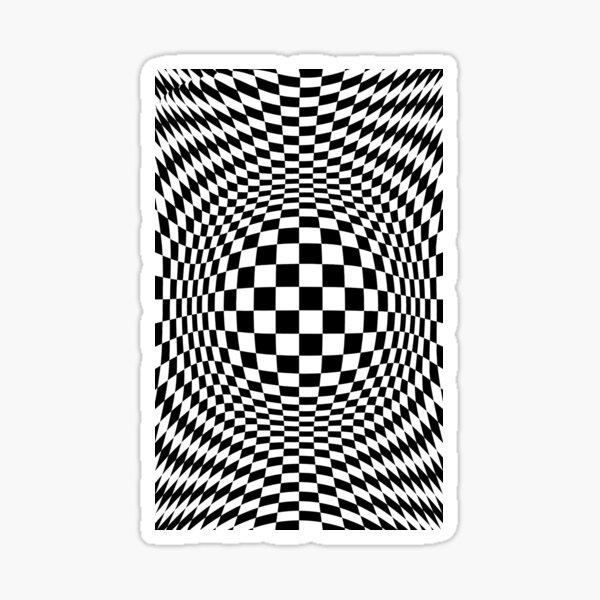 Chess, #Optical #Checker #Illusion #Pattern, design, chess, abstract, grid, square, checkerboard, illusion Sticker