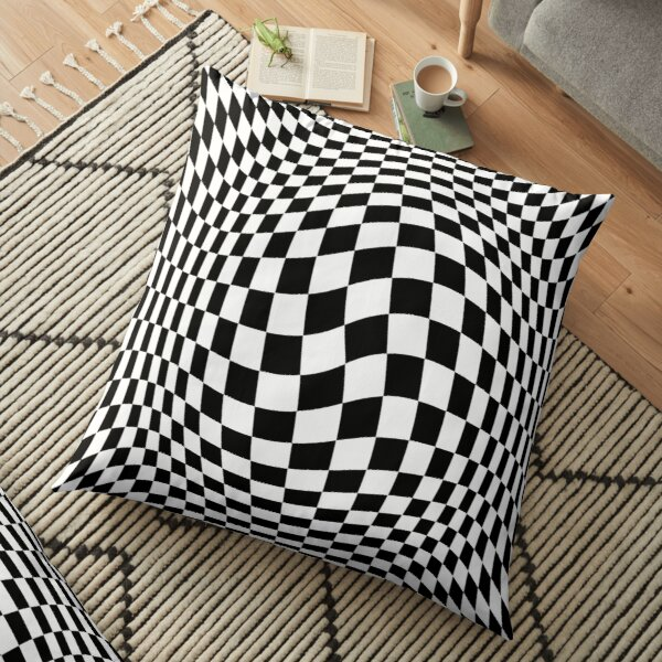 Chess, #Optical #Checker #Illusion #Pattern, design, chess, abstract, grid, square, checkerboard, illusion Floor Pillow