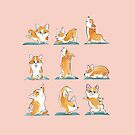 Corgi Yoga Watercolor by Huebucket