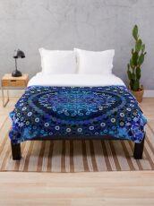 Blue Mosaic Mandala Throw Blanket