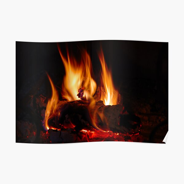 Fire in fireplace Poster
